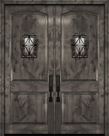 WDMA 84x96 Door (7ft by 8ft) Exterior Knotty Alder 42in x 96in Double Arch 2 Panel Estancia Alder Door with Speakeasy 1