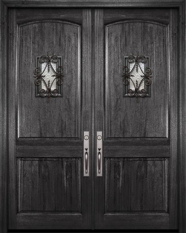 WDMA 84x96 Door (7ft by 8ft) Exterior Mahogany 42in x 96in Double Arch 2 Panel V-Grooved DoorCraft Door with Speakeasy 1