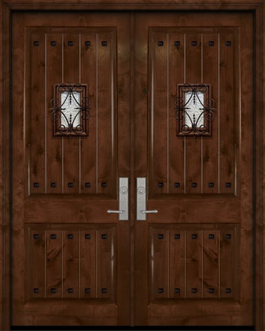 WDMA 84x96 Door (7ft by 8ft) Exterior Knotty Alder 42in x 96in Double 2 Panel V-Grooved Estancia Alder Door with Speakeasy / Clavos 1