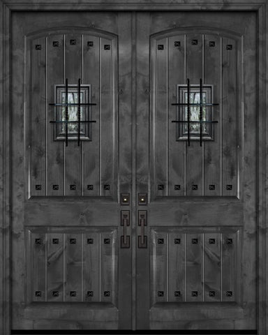 WDMA 84x96 Door (7ft by 8ft) Exterior Knotty Alder 42in x 96in Double Arch 2 Panel V-Grooved Estancia Alder Door with Speakeasy / Clavos 1