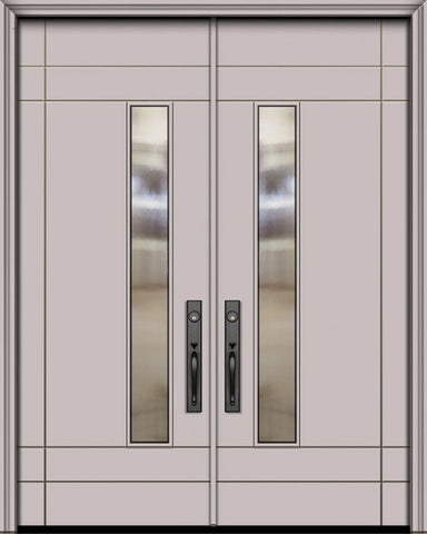 WDMA 84x96 Door (7ft by 8ft) Exterior Smooth 42in x 96in Double Santa Barbara Solid Contemporary Door w/Textured Glass 1