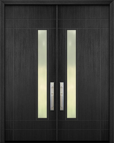 WDMA 84x96 Door (7ft by 8ft) Exterior Mahogany 42in x 96in Double Santa Barbara Solid Contemporary Door w/Textured Glass 1