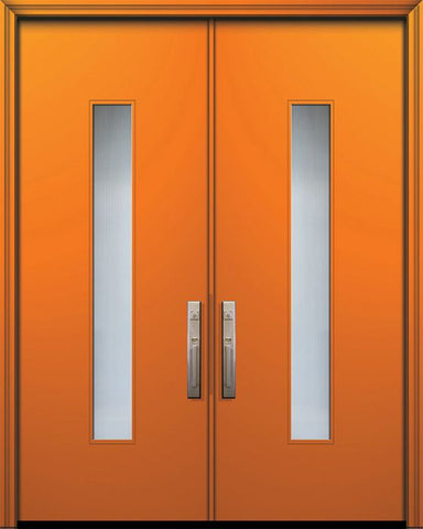 WDMA 84x96 Door (7ft by 8ft) Exterior Smooth 42in x 96in Double Malibu Solid Contemporary Door w/Textured Glass 1