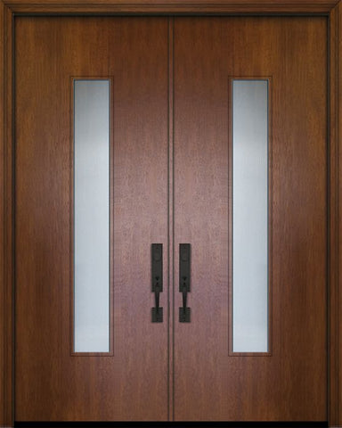 WDMA 84x96 Door (7ft by 8ft) Exterior Mahogany 42in x 96in Double Malibu Solid Contemporary Door w/Textured Glass 1