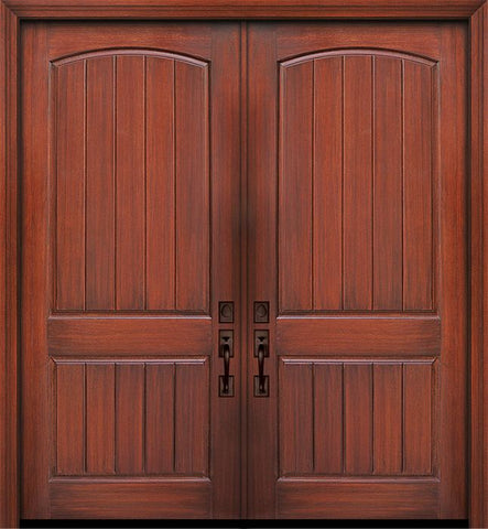 WDMA 84x96 Door (7ft by 8ft) Exterior Mahogany 42in x 96in Double 2 Panel Arch V-Grooved Door 1
