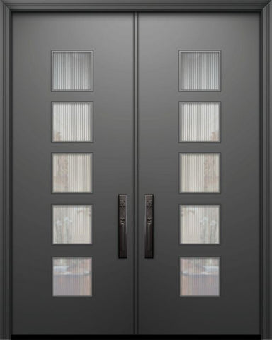 WDMA 84x96 Door (7ft by 8ft) Exterior Smooth 42in x 96in Double Venice Solid Contemporary Door w/Textured Glass 1