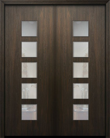 WDMA 84x96 Door (7ft by 8ft) Exterior Mahogany 42in x 96in Double Venice Solid Contemporary Door w/Textured Glass 1