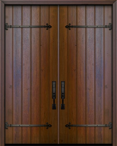 WDMA 84x96 Door (7ft by 8ft) Exterior Swing Mahogany 42in x 96in Double Square Top Plank Portobello Door with Straps 1