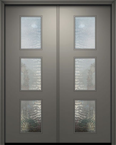 WDMA 84x96 Door (7ft by 8ft) Exterior Smooth 42in x 96in Double Newport Solid Contemporary Door w/Textured Glass 1