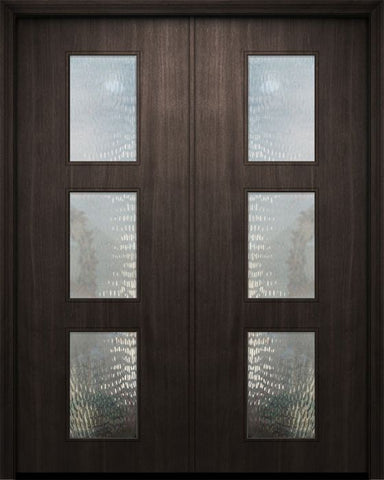WDMA 84x96 Door (7ft by 8ft) Exterior Mahogany 42in x 96in Double Newport Solid Contemporary Door w/Textured Glass 1