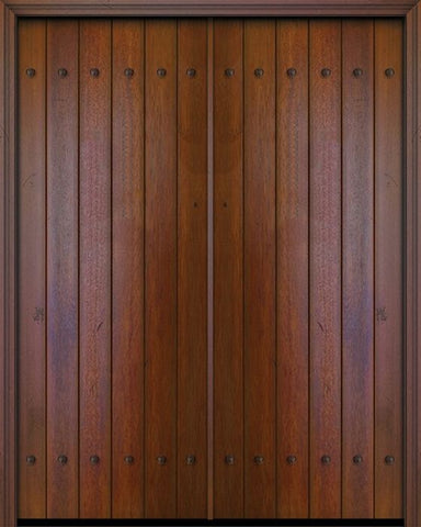 WDMA 84x96 Door (7ft by 8ft) Exterior Swing Mahogany 42in x 96in Double Square Top Plank Portobello Door with Clavos 1
