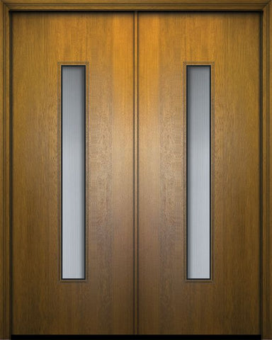 WDMA 84x96 Door (7ft by 8ft) Exterior Mahogany 42in x 96in Double Malibu Contemporary Door w/Textured Glass 1
