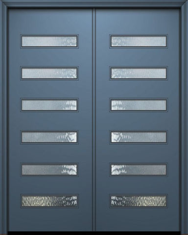 WDMA 84x96 Door (7ft by 8ft) Exterior Smooth 42in x 96in Double Beverly Solid Contemporary Door w/Textured Glass 1