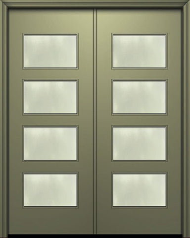 WDMA 84x96 Door (7ft by 8ft) Exterior Smooth 42in x 96in Double Santa Monica Solid Contemporary Door w/Textured Glass 1