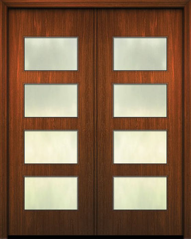 WDMA 84x96 Door (7ft by 8ft) Exterior Mahogany 42in x 96in Double Santa Monica Solid Contemporary Door w/Textured Glass 1