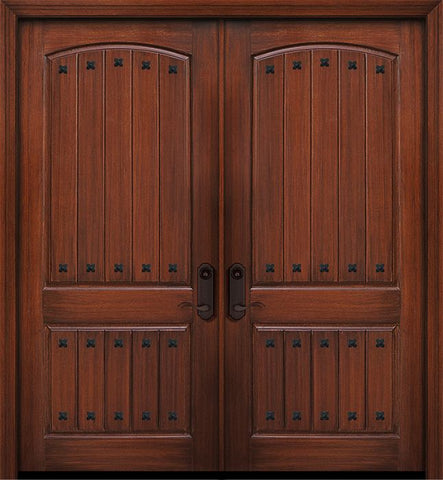 WDMA 84x96 Door (7ft by 8ft) Exterior Mahogany 42in x 96in Double 2 Panel Arch V-Groove Door with Clavos 1