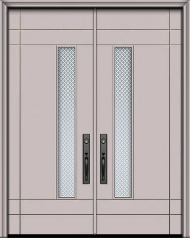 WDMA 84x96 Door (7ft by 8ft) Exterior Smooth 42in x 96in Double Santa Barbara Solid Contemporary Door w/Metal Grid 1