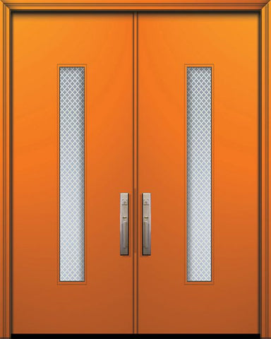 WDMA 84x96 Door (7ft by 8ft) Exterior Smooth 42in x 96in Double Malibu Solid Contemporary Door w/Metal Grid 1