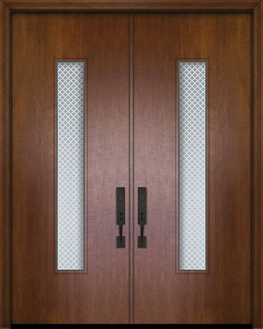 WDMA 84x96 Door (7ft by 8ft) Exterior Mahogany 42in x 96in Double Malibu Solid Contemporary Door w/Metal Grid 1