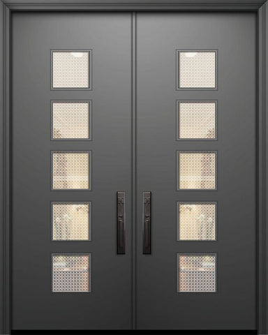 WDMA 84x96 Door (7ft by 8ft) Exterior Smooth 42in x 96in Double Venice Solid Contemporary Door w/Metal Grid 1