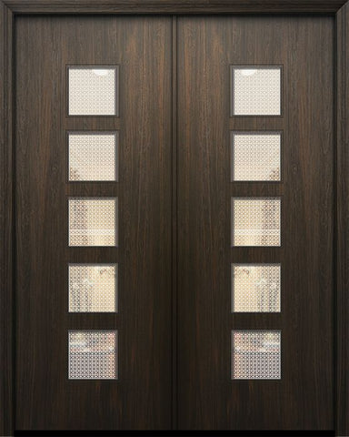 WDMA 84x96 Door (7ft by 8ft) Exterior Mahogany 42in x 96in Double Venice Solid Contemporary Door w/Metal Grid 1