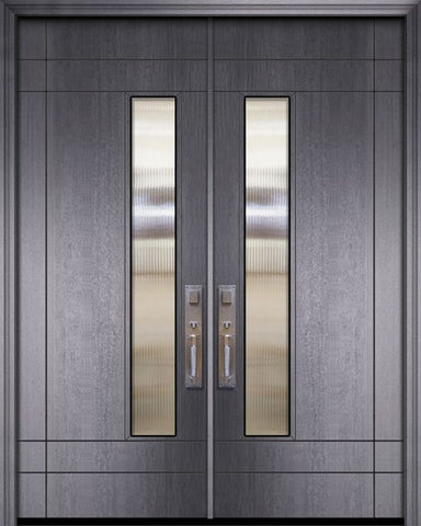 WDMA 84x96 Door (7ft by 8ft) Exterior Mahogany 42in x 96in Double Santa Barbara Contemporary Door w/Textured Glass 1