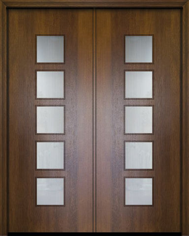 WDMA 84x96 Door (7ft by 8ft) Exterior Mahogany 42in x 96in Double Venice Contemporary Door w/Textured Glass 1