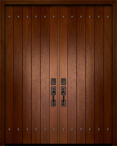 WDMA 84x96 Door (7ft by 8ft) Exterior Mahogany 42in x 96in Double Plank Door with Clavos 1