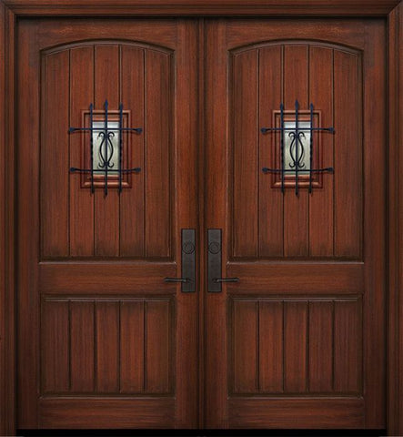 WDMA 84x96 Door (7ft by 8ft) Exterior Mahogany 42in x 96in Double 2 Panel Arch V-Groove Door with Speakeasy 1
