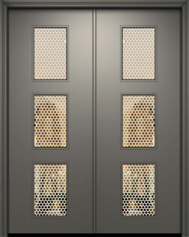 WDMA 84x96 Door (7ft by 8ft) Exterior Smooth 42in x 96in Double Newport Solid Contemporary Door w/Metal Grid 1