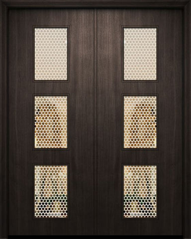 WDMA 84x96 Door (7ft by 8ft) Exterior Mahogany 42in x 96in Double Newport Solid Contemporary Door w/Metal Grid 1