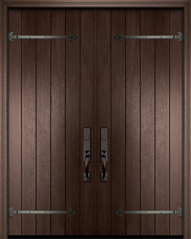 WDMA 84x96 Door (7ft by 8ft) Exterior Mahogany 42in x 96in Double Plank Door with Straps 1
