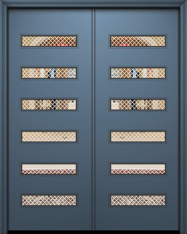 WDMA 84x96 Door (7ft by 8ft) Exterior Smooth 42in x 96in Double Beverly Solid Contemporary Door w/Metal Grid 1