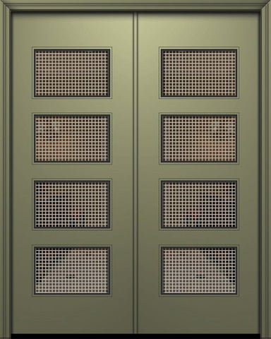 WDMA 84x96 Door (7ft by 8ft) Exterior Smooth 42in x 96in Double Santa Monica Solid Contemporary Door w/Metal Grid 1