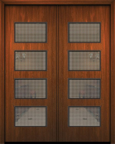 WDMA 84x96 Door (7ft by 8ft) Exterior Mahogany 42in x 96in Double Santa Monica Solid Contemporary Door w/Metal Grid 1