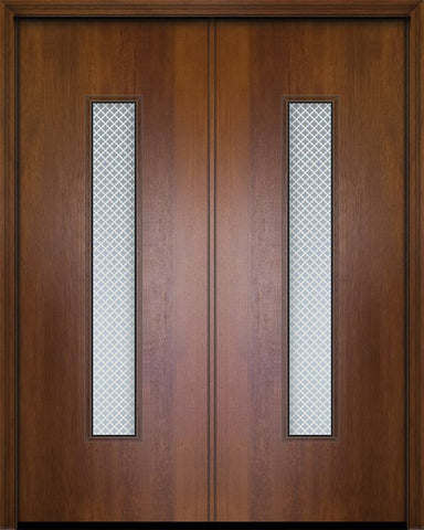 WDMA 84x96 Door (7ft by 8ft) Exterior Mahogany 42in x 96in Double Malibu Contemporary Door w/Metal Grid 1