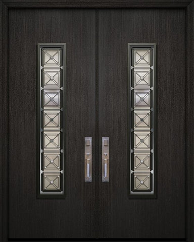 WDMA 84x96 Door (7ft by 8ft) Exterior Mahogany 42in x 96in Double Malibu Contemporary Door with Speakeasy 1