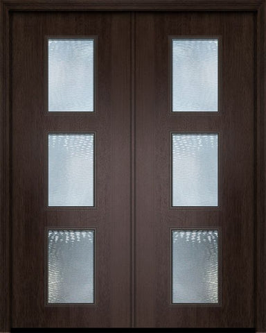 WDMA 84x96 Door (7ft by 8ft) Exterior Mahogany 42in x 96in Double Newport Contemporary Door w/Textured Glass 1