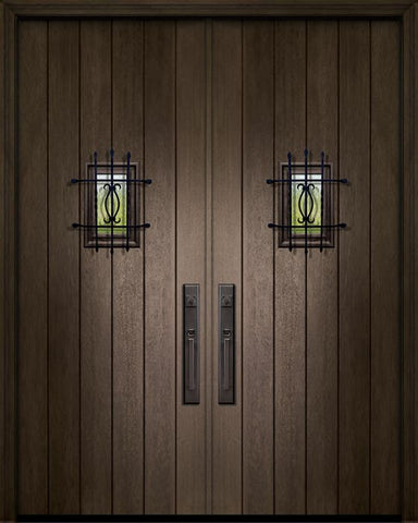 WDMA 84x96 Door (7ft by 8ft) Exterior Mahogany 42in x 96in Double Plank Door with Speakeasy 1
