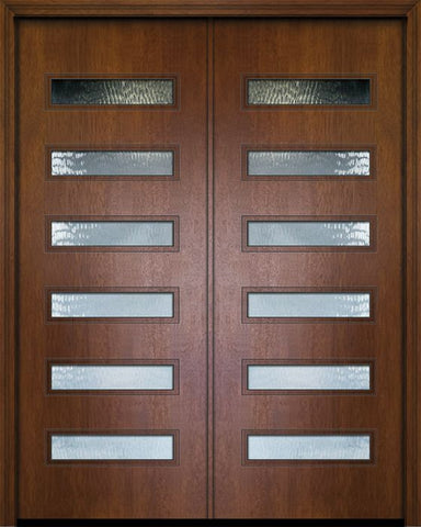 WDMA 84x96 Door (7ft by 8ft) Exterior Mahogany 42in x 96in Double Beverly Contemporary Door w/Textured Glass 1