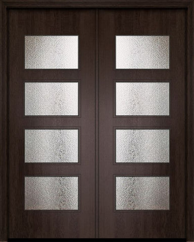 WDMA 84x96 Door (7ft by 8ft) Exterior Mahogany 42in x 96in Double Santa Monica Contemporary Door w/Textured Glass 1