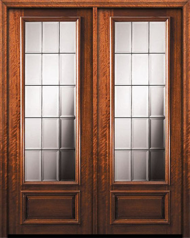WDMA 84x96 Door (7ft by 8ft) Exterior Mahogany 42in x 96in Double 3/4 Lite French Door 1