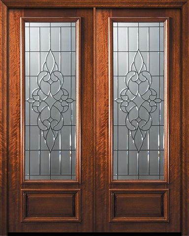 WDMA 84x96 Door (7ft by 8ft) Exterior Mahogany 42in x 96in Double 3/4 Lite Courtlandt Door 1