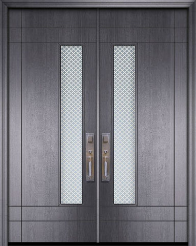 WDMA 84x96 Door (7ft by 8ft) Exterior Mahogany 42in x 96in Double Santa Barbara Contemporary Door w/Metal Grid 1