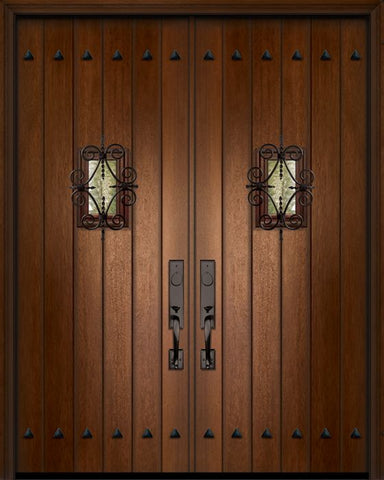 WDMA 84x96 Door (7ft by 8ft) Exterior Mahogany 42in x 96in Double Plank Door with Speakeasy / Clavos 1