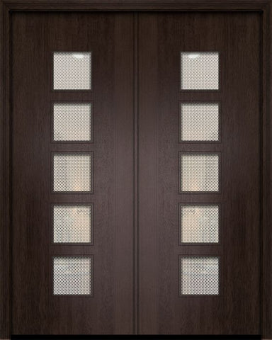 WDMA 84x96 Door (7ft by 8ft) Exterior Mahogany 42in x 96in Double Venice Contemporary Door w/Metal Grid 1