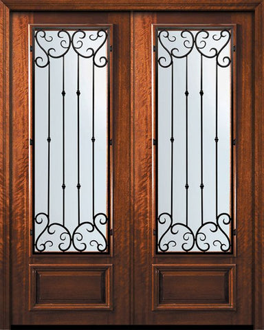WDMA 84x96 Door (7ft by 8ft) Exterior Mahogany 42in x 96in Double 3/4 Lite Valencia Door 1