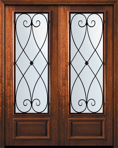 WDMA 84x96 Door (7ft by 8ft) Exterior Mahogany 42in x 96in Double 3/4 Lite Charleston Door 1
