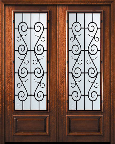 WDMA 84x96 Door (7ft by 8ft) Exterior Mahogany 42in x 96in Double 3/4 Lite St. Charles Door 1