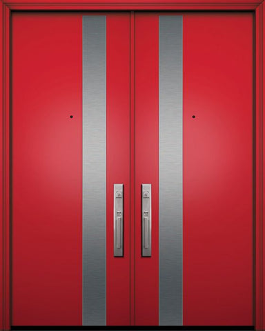 WDMA 84x96 Door (7ft by 8ft) Exterior Smooth 42in x 96in Double Costa Mesa Solid Contemporary Door 1